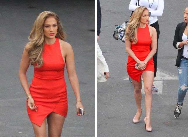 Το κατακόκκινο μίνι και η αμηχανία της Jennifer Lopez